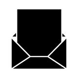 Black silhouette envelope opened with sheet Royalty Free Stock Image