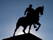 Black silhouette of equestrian statue of Colleoni. Black silhouette of equestrian statue Bartolomeo Colleoni by Verrocchio in Venice on blue sky background stock images