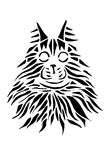 Black silhouette face of cat Maine Coon on white background. Stock Photography