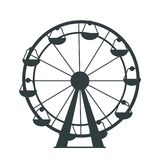 Black Silhouette of Ferris Wheel with Lots of Cabs. Black silhouette of Ferris Wheel with lots of colorless cabs for amusement park or children playground Stock Photo