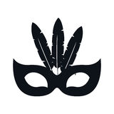 Black silhouette festive carnival mask icon design Stock Photos