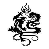 Black Silhouette Fighting tiger and dragon, tattoo isolated on w. Hite background.Vector Royalty Free Stock Photography