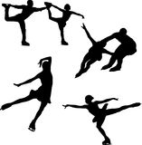 Black silhouette of figure skating on a white background. Logo of skaters in different poses, black in white Stock Photo