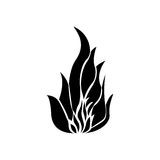Black silhouette fire flame icon. Illustration Royalty Free Stock Image