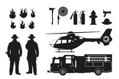 Black silhouette of firefighters and fire fighting equipment on white background. Helicopter and firemans car. Icons of flame and items. Vector illustration Stock Images