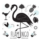 Black silhouette flamingo and summer tropical icons set royalty free illustration