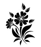 Black silhouette of flowers. Vector illustration. Stock Image