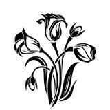 Black silhouette of flowers. Stock Photos
