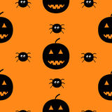 Black silhouette funny smiling pumpkins and spider insect. Cute cartoon baby character.  Royalty Free Stock Photos