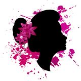 Card 8 March with silhouette of a girl and papercut flowers. Black silhouette of a girl face in profile with pink and white papercut flowers on white background Royalty Free Stock Photography