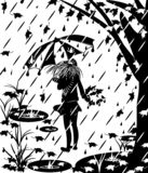 Black silhouette of a girl with an umbrella. royalty free illustration