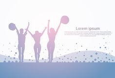 Black Silhouette Girls Group Cheerful Raised Hands Full Length Happy Woman Holding Hats. Flat Vector Illustration Royalty Free Stock Photo