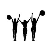Black Silhouette Girls Group Cheerful Raised Hands Full Length Isolated Over White Background Happy Woman Holding Hats. Flat Vector Illustration Stock Photo