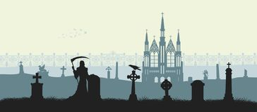 Black silhouette of gothic cemetery. Reaper with scythe as symbol of death. Medieval architecture. Graveyard with gate, church and tombstones. Halloween scene royalty free illustration