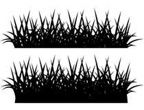 Silhouette of grass, black on white stock illustration