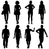 Black silhouette group of people standing in various poses.  vector illustration