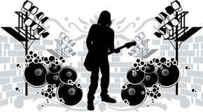 Black Silhouette Guitarist Royalty Free Stock Images