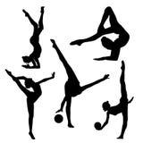 Black silhouette of gymnast on white background, black in white. Logo of gymnastics, flexible girl Stock Photography