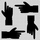 Black silhouette of hand with pointing in various directions finger. Black silhouette of hand with pointing or showing in various directions finger. Vector set Stock Photo
