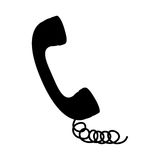 Black silhouette handset with cord. Illustration Royalty Free Stock Photography