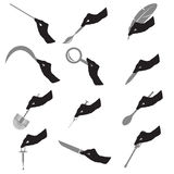 Black silhouette of hans with various tools Stock Photography
