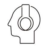 Black silhouette head with headphones Stock Photos