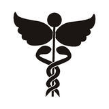 Black silhouette Health symbol with Serpents entwined. Vector illustration Stock Image