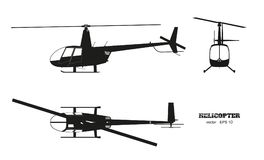 Black silhouette of helicopter on white background. Top, front and side view. Detailed image of business vehicle. Industrial isolated drawing. Vector Stock Photography