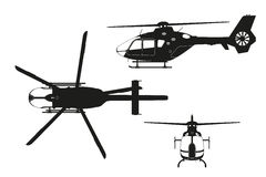 Black silhouette of helicopter on white background. Top, side, front view. Isolated drawing Royalty Free Stock Photos