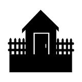 Black silhouette house with wood grille Stock Photos