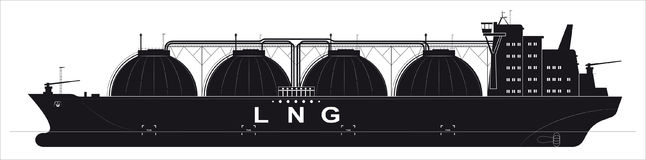 Black silhouette of a huge ocean tanker for liquefied gas. Traced details. Side view. Stock Images