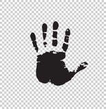 Black silhouette of human hand print. On transparent background. Vector monochrome illustration, icon, logo, clip art Stock Photos