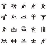 Black silhouette icon people involved in sports Royalty Free Stock Images