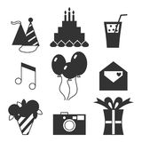Black silhouette icons, happy birthday, holiday set. Cake, balloons, flowers, gift, and other festive design elements Royalty Free Stock Photo
