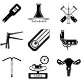 Black silhouette icons for obstetrics Royalty Free Stock Photo