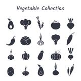 Black silhouette isolated vegetable icon set. On white backdrop. Vector illustration with symbol of onion, eggplant, cabbage, pepper and other vegetables for Royalty Free Stock Photography