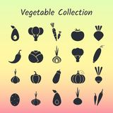 Black silhouette isolated vegetable icon set. Black silhouette isolated vegetable icon set on trendy background. Vector illustration with symbol of onion Stock Photo