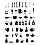 Black silhouette Kitchen utensils set Royalty Free Stock Image