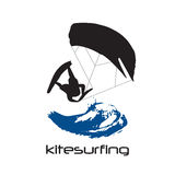 Black Silhouette of kitesurfing man Royalty Free Stock Image