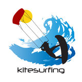 Black Silhouette of kitesurfing man and waves Royalty Free Stock Photography