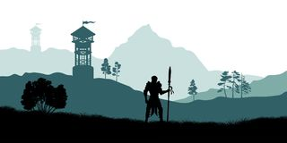 Black silhouette of knight on background of archers tower. Fantasy landscape. Medieval panorama. Battle watchtower Stock Photography
