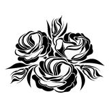 Black silhouette of lisianthus flowers. Stock Photos