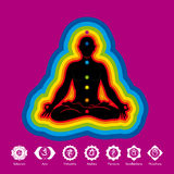 Black silhouette of man doing yoga in lotus flower position with aura of 7 colors on violet background with chakras icons. Vector image Stock Images