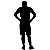 Black silhouette man holding hands on his hips. Vector illustration Royalty Free Stock Photo