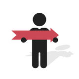 black silhouette of a man holding a red arrow Royalty Free Stock Photos