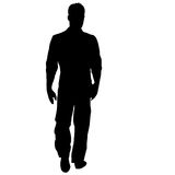 Black silhouette man standing, people on white background.  royalty free illustration