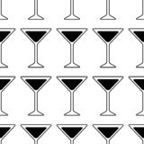 Black Silhouette of a Martini glass. cocktail icon. Seamless pattern vector illustration