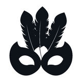 Black silhouette mask carnival celebration icon design Stock Image