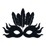 Black silhouette mask feather carnival festival circus fair celebration Royalty Free Stock Photo