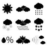 Black silhouette meteorology icons set Stock Photo